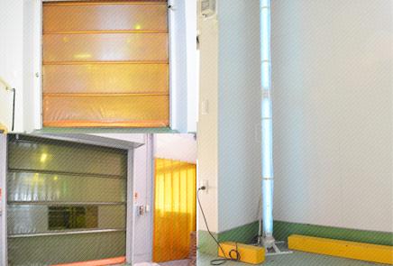 防虫シートシャッター、エアーシャッター、捕虫灯の設置